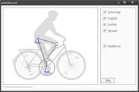 Die Animation zeigt, wie das Bein eines Fahrradfahrers gemeinsam mit der Pedale eine Kurbelschwinge bilden.