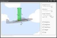 Die Animation zeigt ein Flugzeug, das sich durch die Luft bewegt. Je nach Geschwindigkeit und Anstellwinkel liegt ein anderer Auftrieb und ein anderer Widerstand vor.