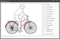 Die Präsentation zeigt ein typisches verkehrsicheres Fahrrad. Verschiedene Einzelteile können farblich hervorgehoben werden.