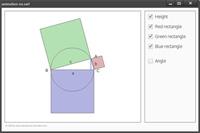 Die Animationn zeigt ein rechtwickliges Dreieck. Ein Eckpunkt kann verschoben werden. Die Quadrate, die aus den drei Seiten gebildet werden, passen sich automatisch an.