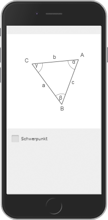 Screenshot of an animation showing how the center of gravity lines of a triangle are formed.