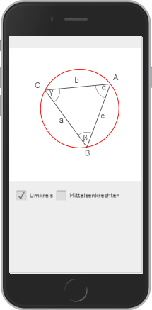 Screenshot of an animation. The animation shows how the circumference of a triangle is formed geometrically.
